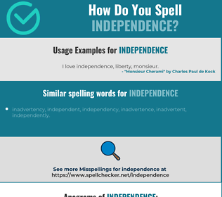 Correct spelling for independence