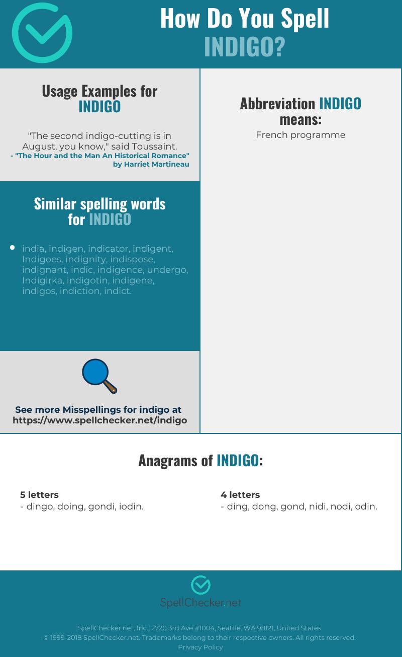 Correct Spelling For Indigo Infographic Spellchecker Net