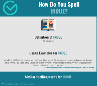 Correct spelling for indue