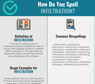 Correct spelling for infiltration
