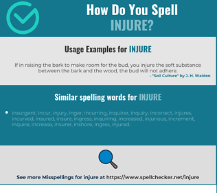 Correct spelling for injure