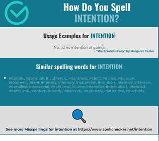 Correct spelling for intention