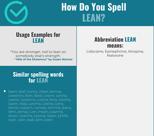 Correct spelling for lean