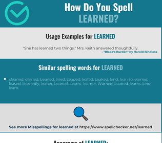 Correct spelling for learned