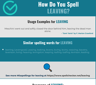Correct spelling for leaving