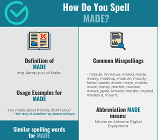 Correct spelling for made