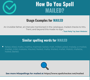 Correct spelling for mailed