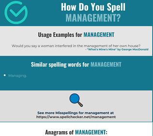 Correct spelling for management