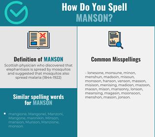 Correct spelling for manson