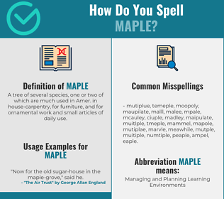 Correct spelling for maple