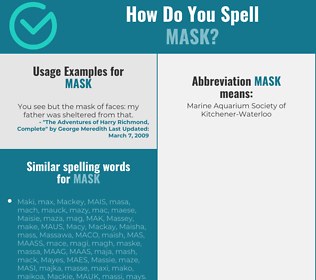 Correct spelling for mask