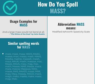 Correct spelling for mass