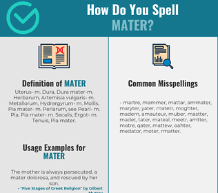 Correct spelling for mater