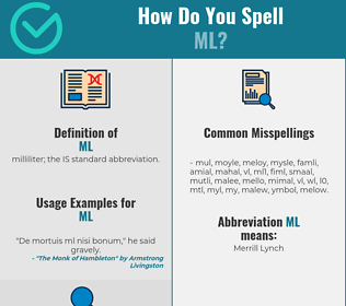 Correct spelling for ml
