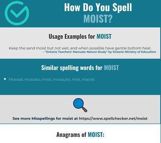 Correct spelling for moist