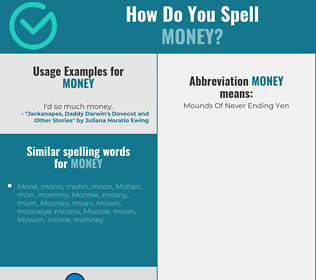 Correct spelling for money