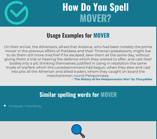 Correct spelling for mover
