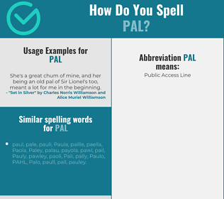 Correct spelling for pal