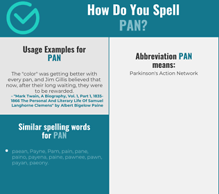 Correct spelling for pan