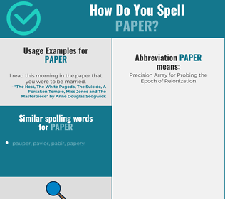Correct spelling for paper