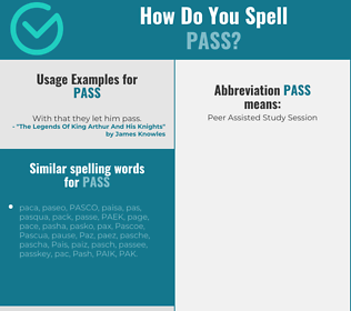 Correct spelling for pass