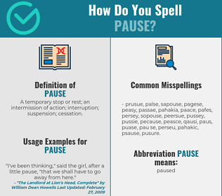 Correct spelling for pause