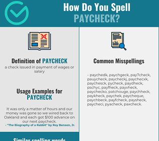 Correct spelling for paycheck