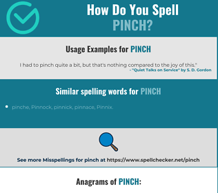 Correct spelling for pinch