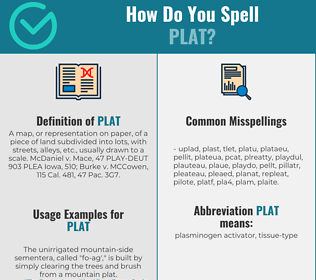 Correct spelling for plat