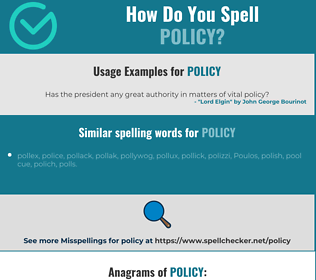 Correct spelling for policy