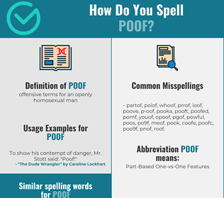 Correct spelling for poof