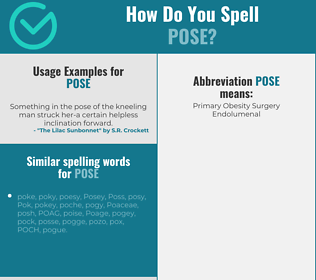 Correct spelling for pose