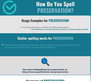 Correct spelling for preservation