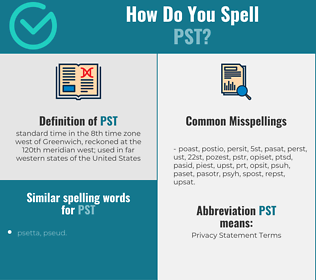 Correct spelling for pst