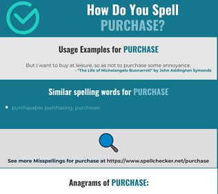 Correct spelling for purchase