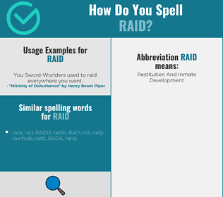 Correct spelling for raid