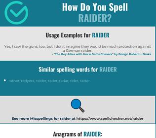 Correct spelling for raider