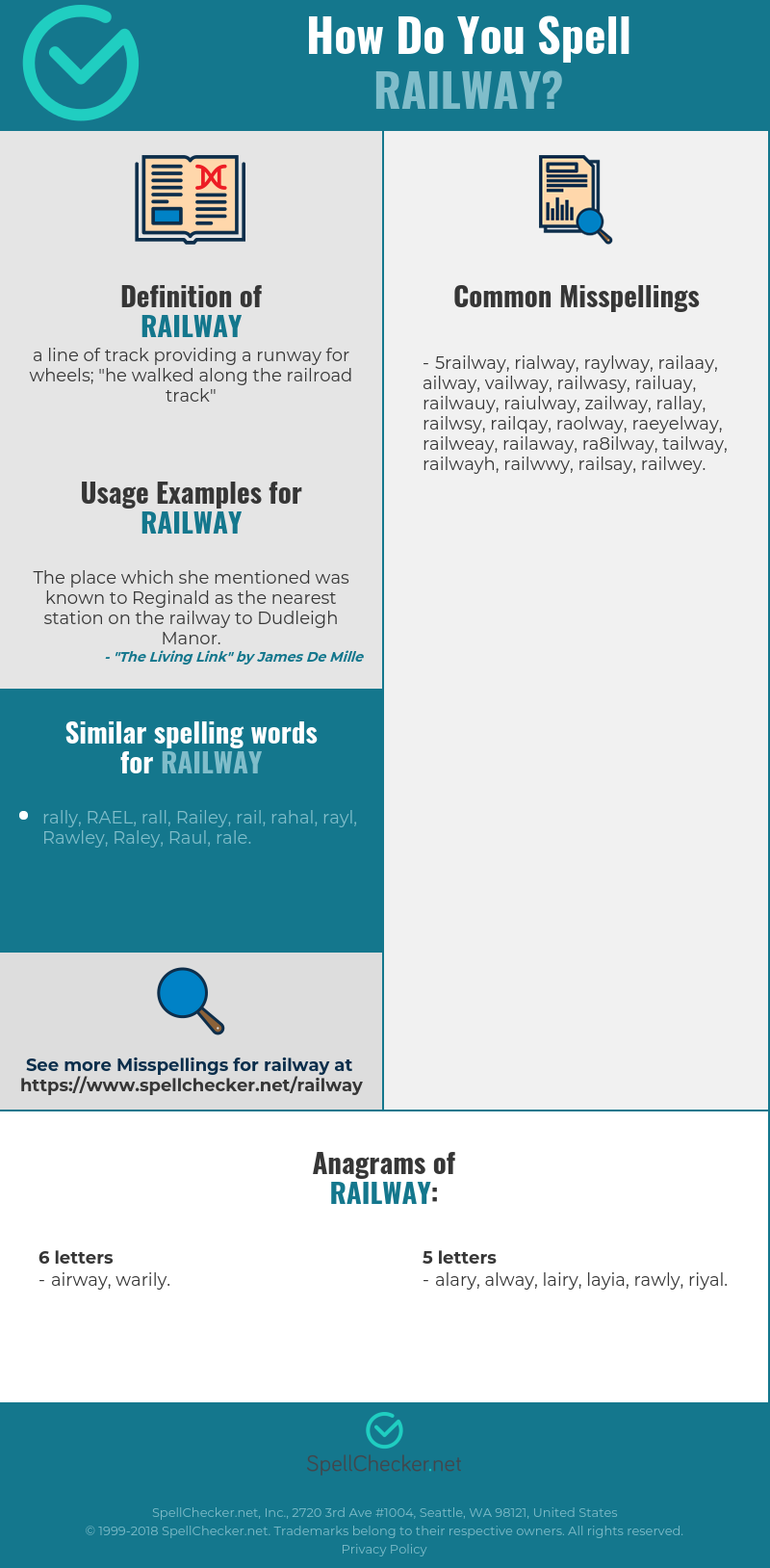 Correct spelling for railway [Infographic] | Spellchecker net