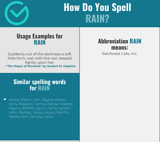 Correct spelling for rain