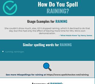 Correct spelling for raining