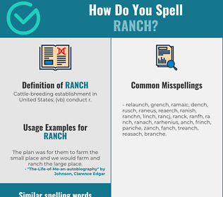 Correct spelling for ranch