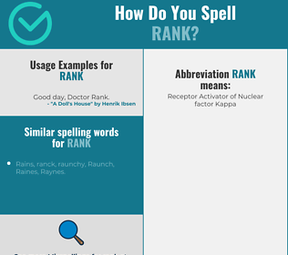 Correct spelling for rank