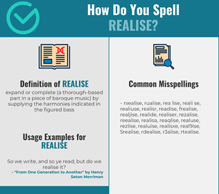 Correct spelling for realise