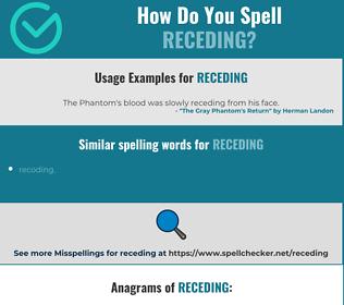 Correct spelling for receding