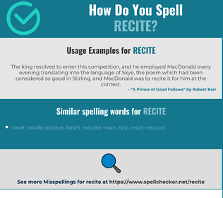 Correct spelling for recite