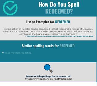 Correct spelling for redeemed