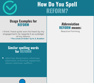 Correct spelling for reform