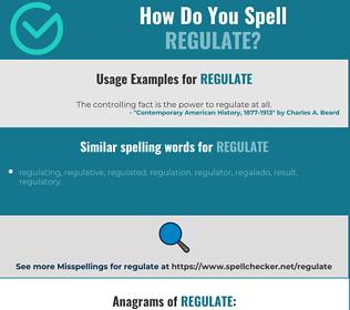 Correct spelling for regulate