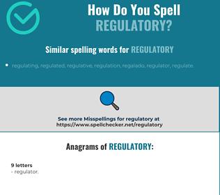 Correct spelling for regulatory