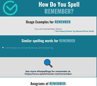 Correct spelling for remember